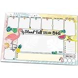 Schreibtischunterlage FLAMINGO, DIN A3 mit süßem, sommerlichem Flamingo-Motiv aus Papier, 25 Blatt Schreibunterlage zum Abreißen (30 x 42 cm) für Kinder und Erwachsene mit Wochenplaner, Tagesplan, To-Do-Liste, Notizfeldern, Freifeldern