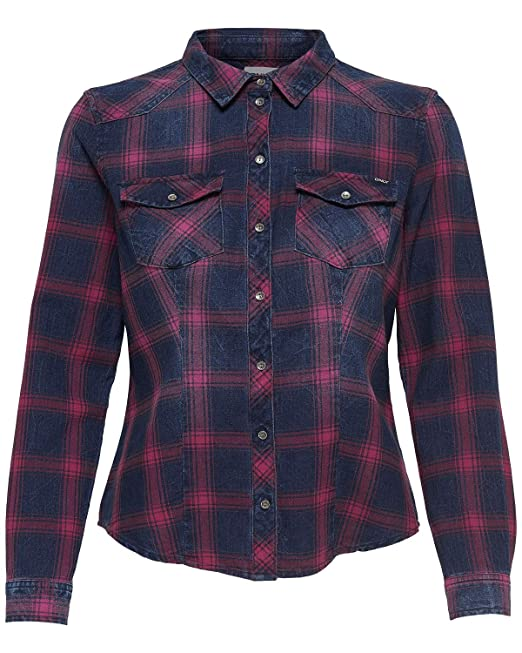 outlet store 1ef2a 82ae1 Only Camicia Rock It Fitted Donna Blue Denim Rosso a Quadri ...