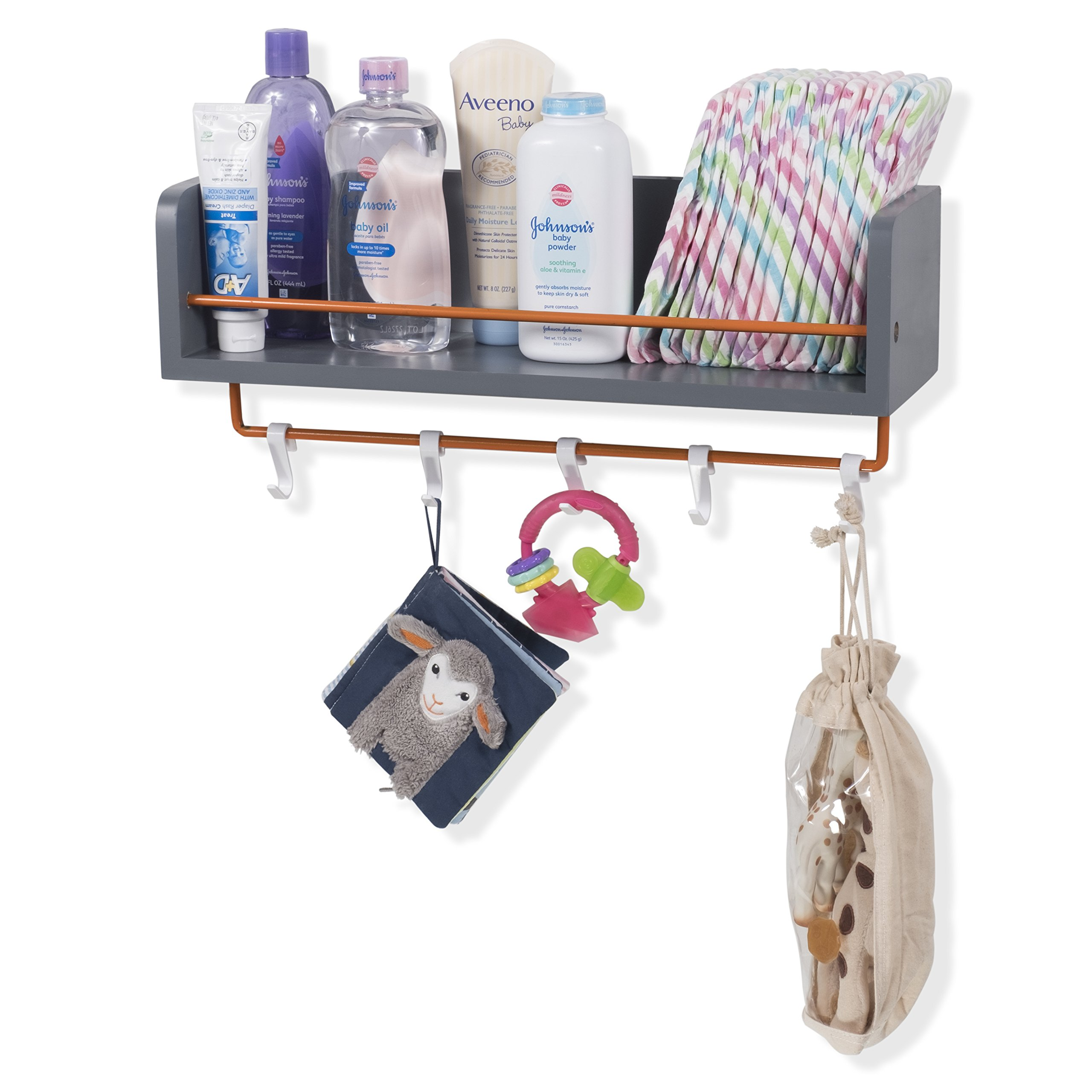 Rustic State Kid's Room Décor Stylish Wooden Floating Shelf with Orange Rails and S Hooks Gray 20 Inch