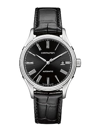 best website f9d2d 5699e [ハミルトン] 腕時計 Valiant auto(バリアント オート) roman BLK leather H39515734 正規輸入品 ブラック