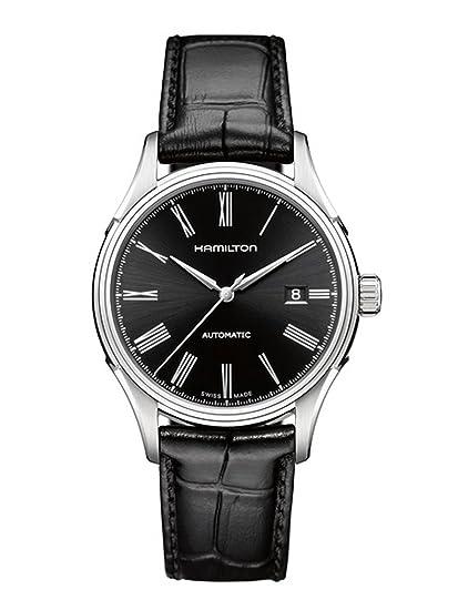 best website fd5ae da0b7 [ハミルトン] 腕時計 Valiant auto(バリアント オート) roman BLK leather H39515734 正規輸入品 ブラック