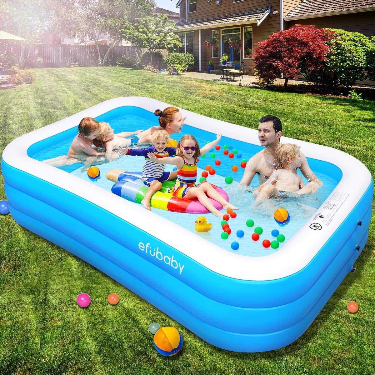 Efubaby Inflatable Pool 120 X 72 X 22 Full Sized Swimming Pools Inflatable Kid Pools Blow Up Pool Toddler Pool Family Pool For Baby Kiddie Adult Ages 3 Outdoor Garden Backyard Ground