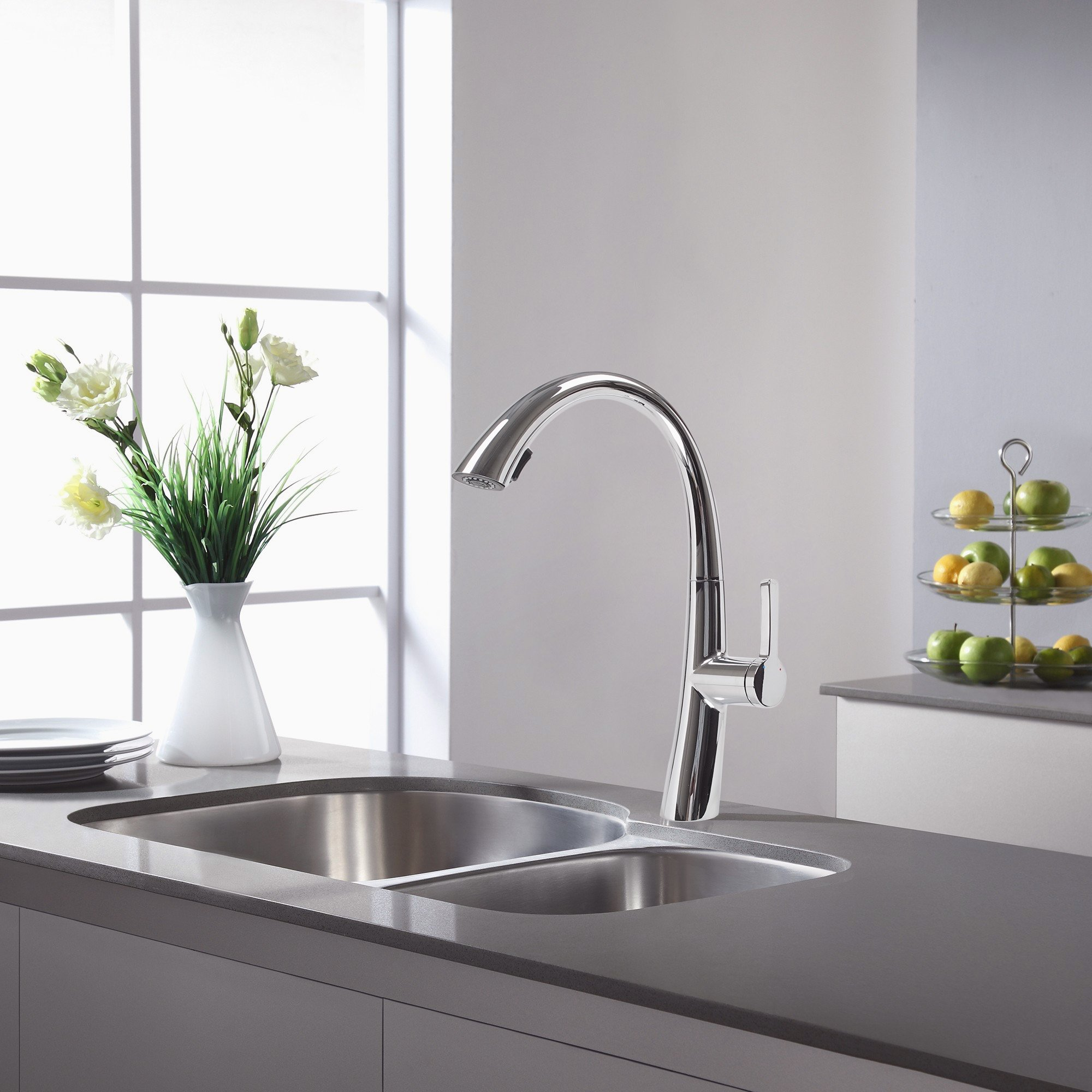 Cosmo COS-KF863C Modern Luxury High Arc Pull-Down Tap Mixer Kitchen Faucet, Chrome by Cosmo (Image #7)