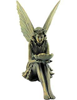 Large Garden Ornament Sitting Fairy Sculpture Antique Bronze Effect