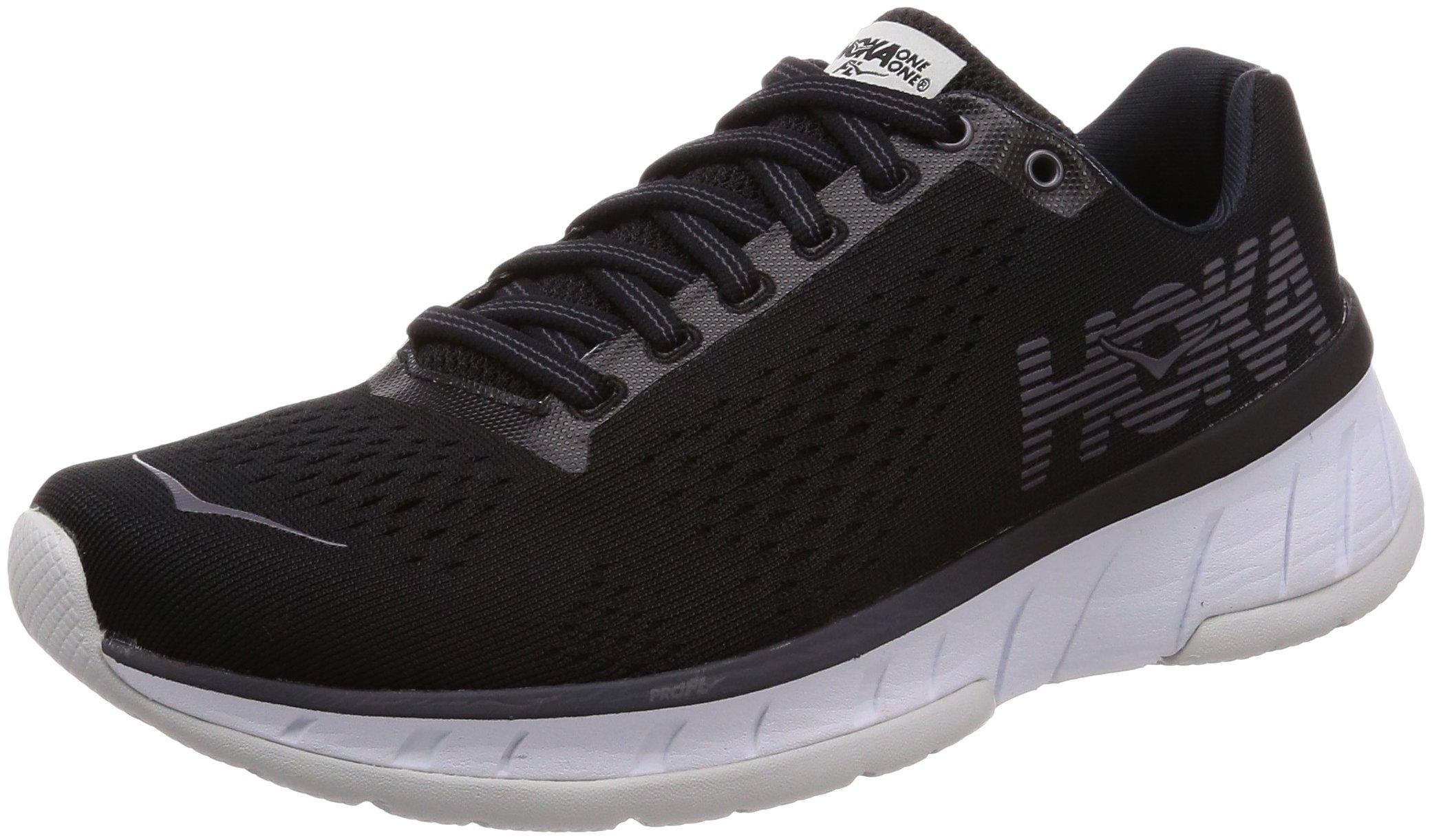 Hoka One 1019282-BWHT: Womens Cavu Black/White Running Sneakers (5 B(M) US Women)