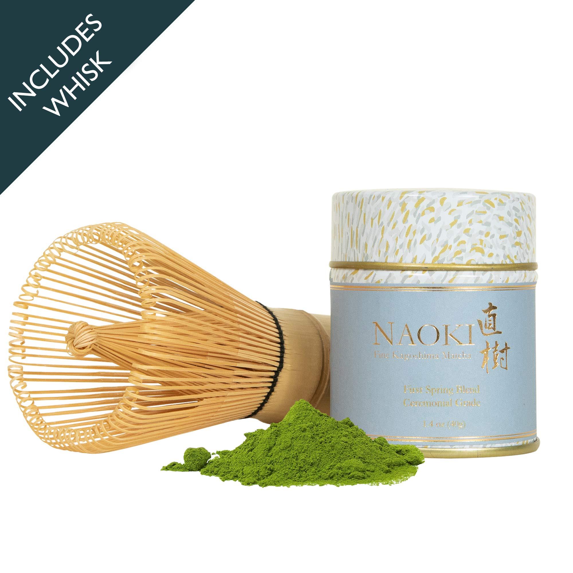 Naoki Matcha Matcha Set Traditional Bamboo Whisk (Chasen) with Authentic Japanese Matcha Green Tea Powder (First Spring Blend 1.4 oz/40g) Ceremonial Grade from Kagoshima, Japan by Naoki Matcha