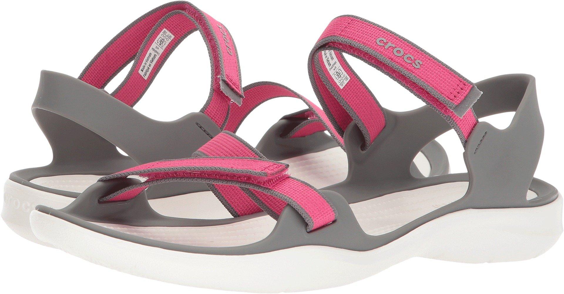 Crocs Women's Swiftwater Webbing W Sport Sandal, Paradise Pink/Smoke, 5 M US