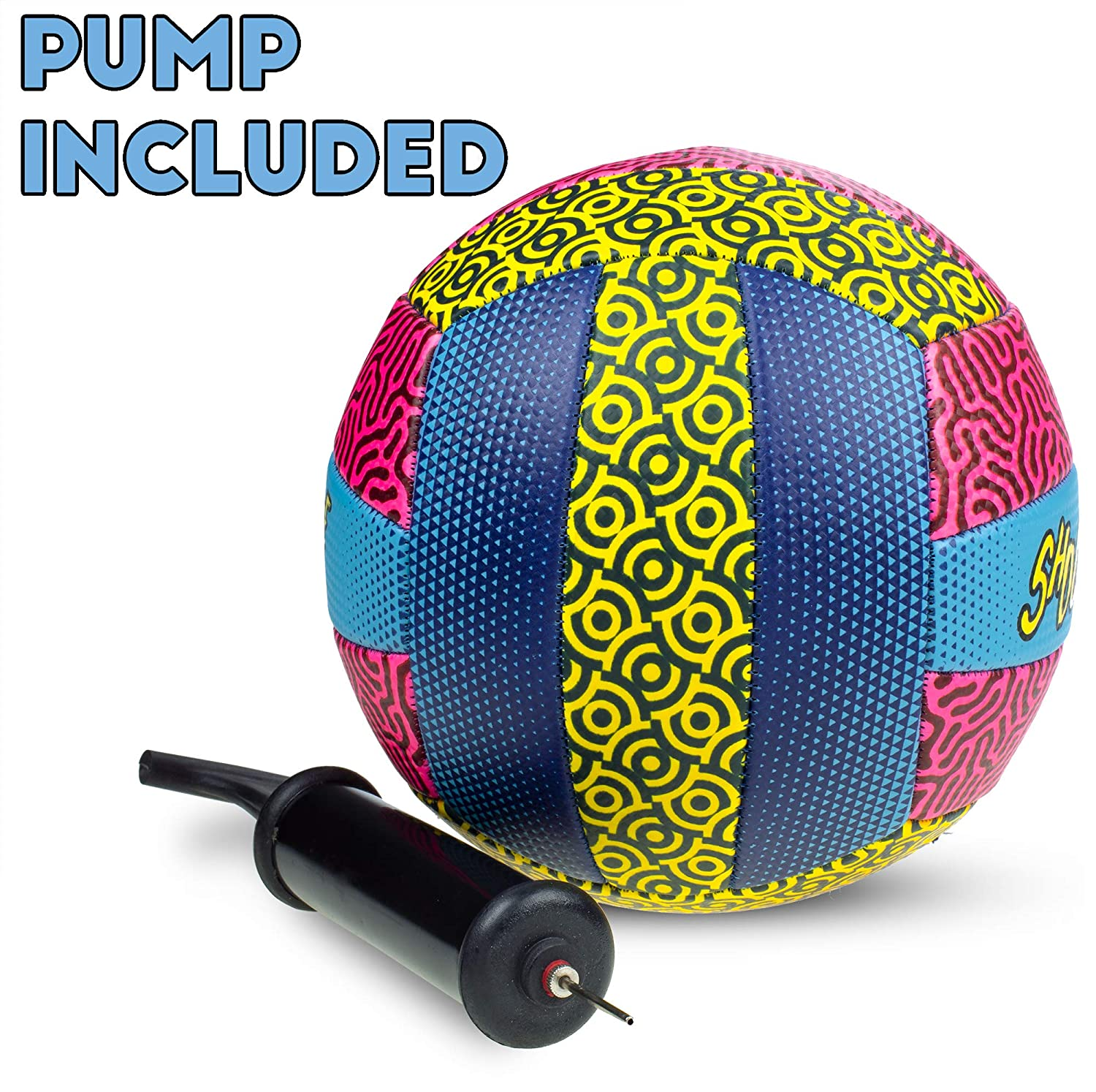 Shockwave Beach Volleyball Ideal for The Beach or Outdoor or Indoor Settings Funky 80s//90s Psychadelic Pattern with Bright Colors Distinctive Neon Design Ball for Kids and Adults