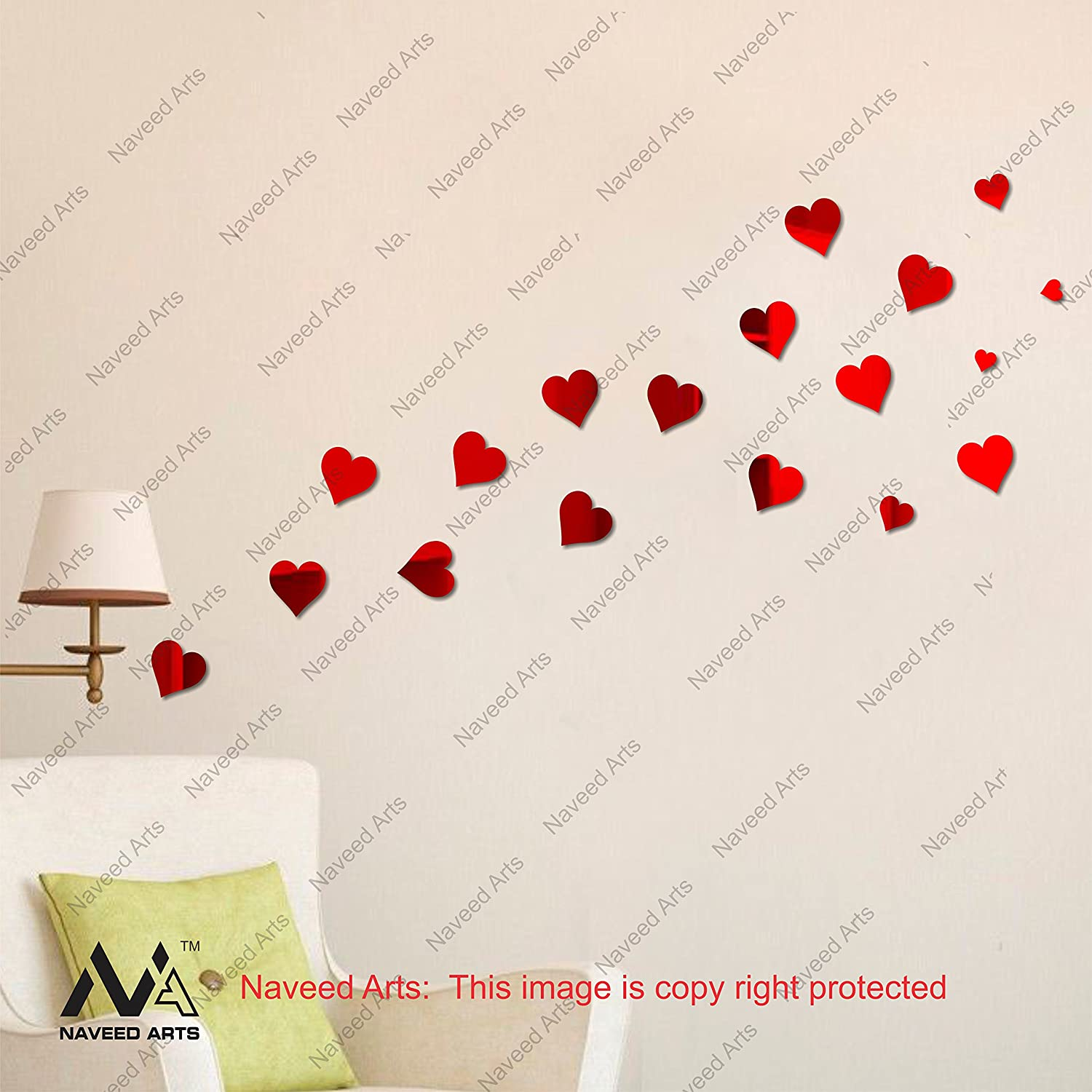4611babe71 Buy Naveed Arts- Send Valentine Gifts Online - Love Heart - Acrylic Wall  Stickers -Red Mirror, JB009RM - 18 Pieces - 3mm Thick - Factory Outlet  Online at ...