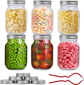 Mason Jars 16 Oz, 6 PCS Glass Regular Mouth Canning Jar with 12 Regular Silver Metal Airtight Lids & Corkscrew, for Jelly, Jam, Honey, Baby Foods, Spices and Dry Food Storage
