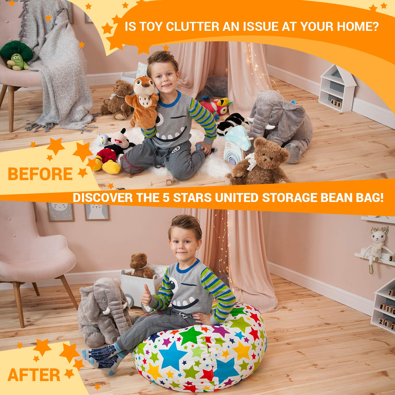 Stuffed Animal Storage Bean Bag - Cover Only - Large Beanbag Chairs for Kids - 90+ Plush Toys Holder and Organizer for Boys and Girls - 100% Cotton Canvas - Holiday Stars by 5 STARS UNITED (Image #6)
