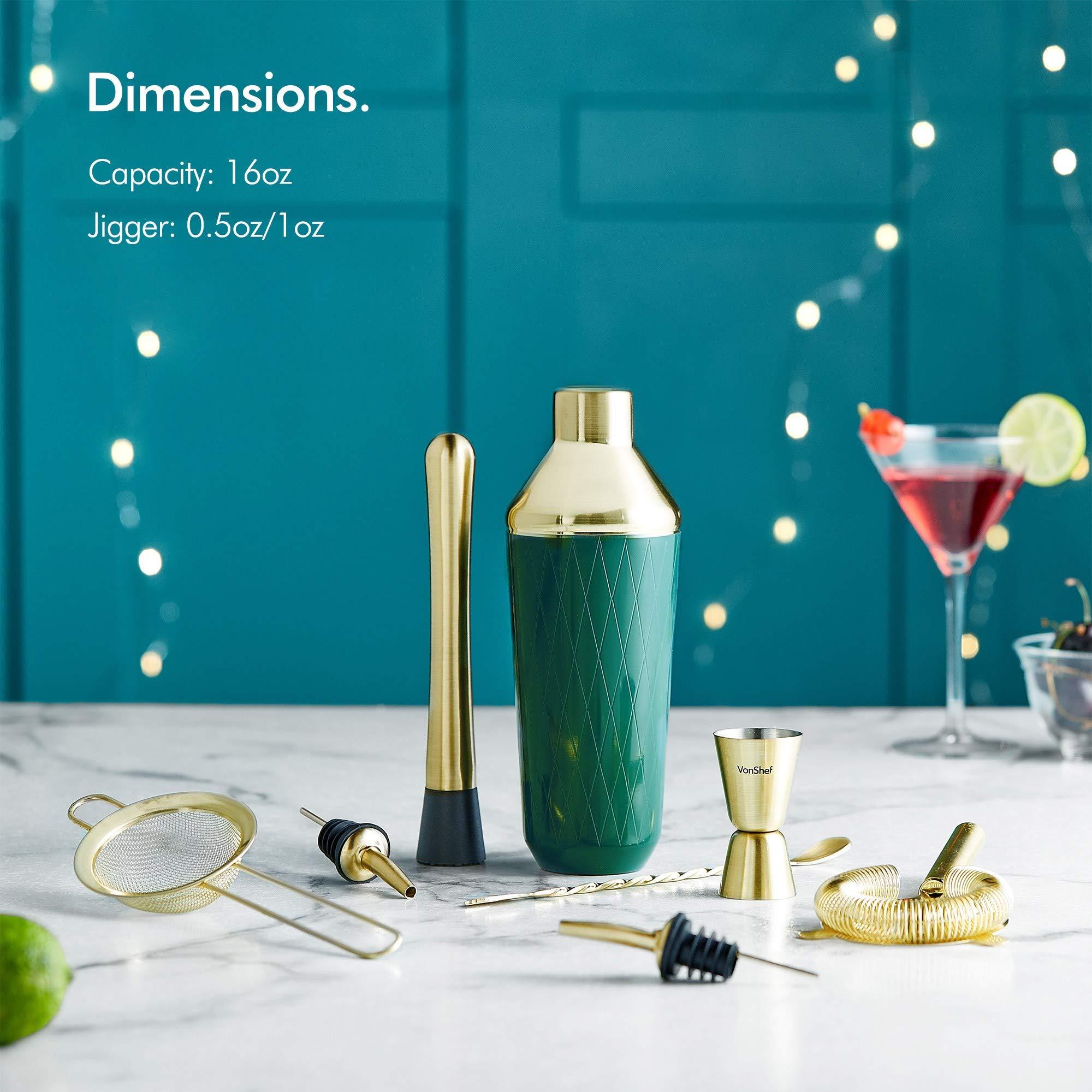 VonShef Green & Gold Cocktail Shaker Set in Gift Box with 16oz Shaker, Muddler, Bar Spoon, Jigger, Hawthorne Strainer, Julep Strainer, Bottle Pourer and Recipe Book by VonShef (Image #2)