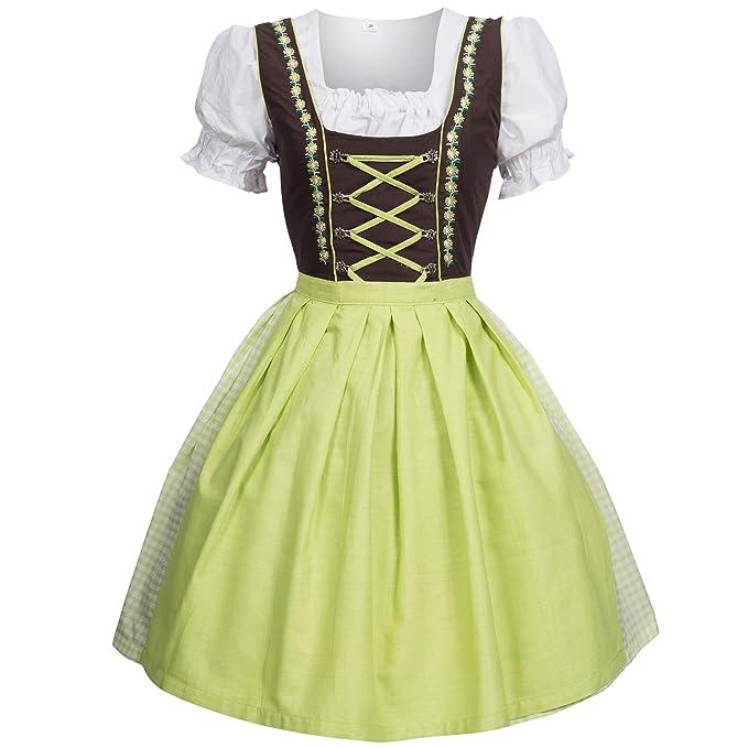 Trachtenkleid Dirndl vestido blusa, falda, talla 34 – 46 Marrón/