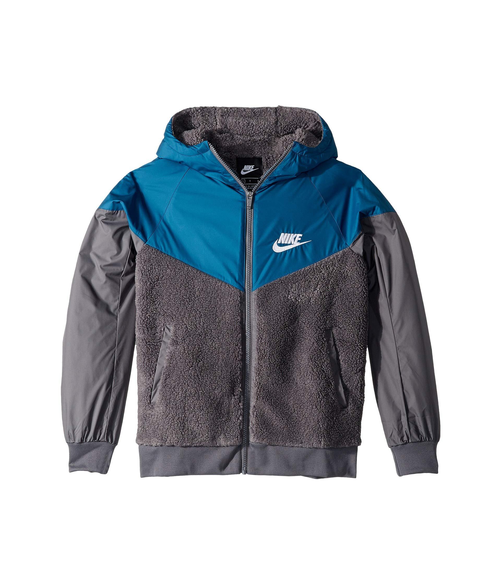 Nike Boy's Sportswear Sherpa Windrunner Jacket (Dark Grey/Blue Force, Small)