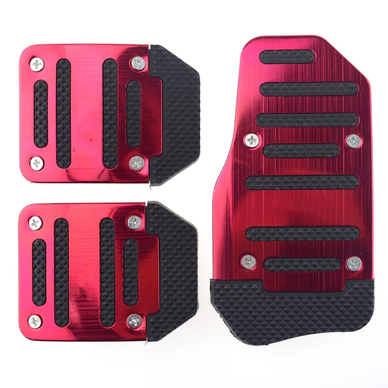 Dayiss/® 3Pcs Auto rutschfest Pedal Schaltgetriebe Pedalhaken Pedalabdeckung Bremsen in 3 Farbe Rot