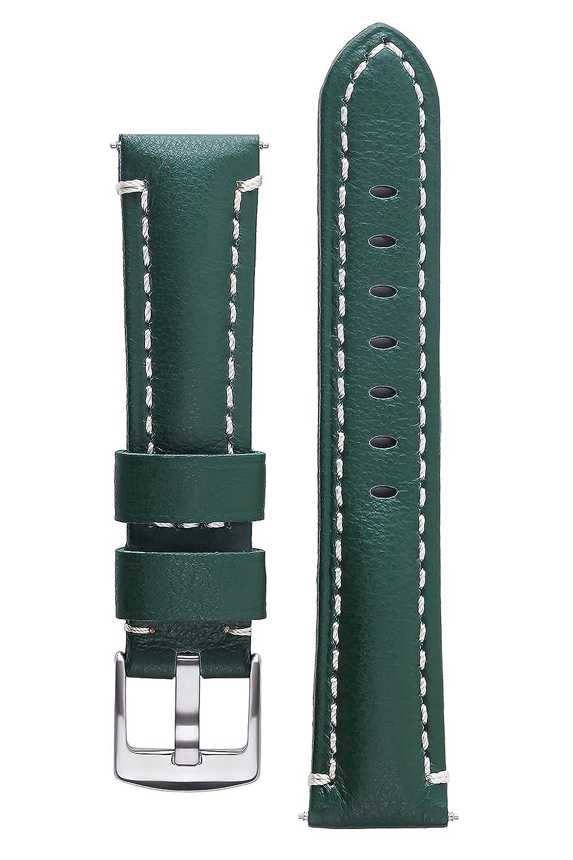 署名CaptainカーフスキンWatchバンドAnti Scratchレザー時計ストラップブレスレット 20 mm Dark Green 20 mm ダークグリーン ダークグリーン 20 mm B01LZSH0ZJ