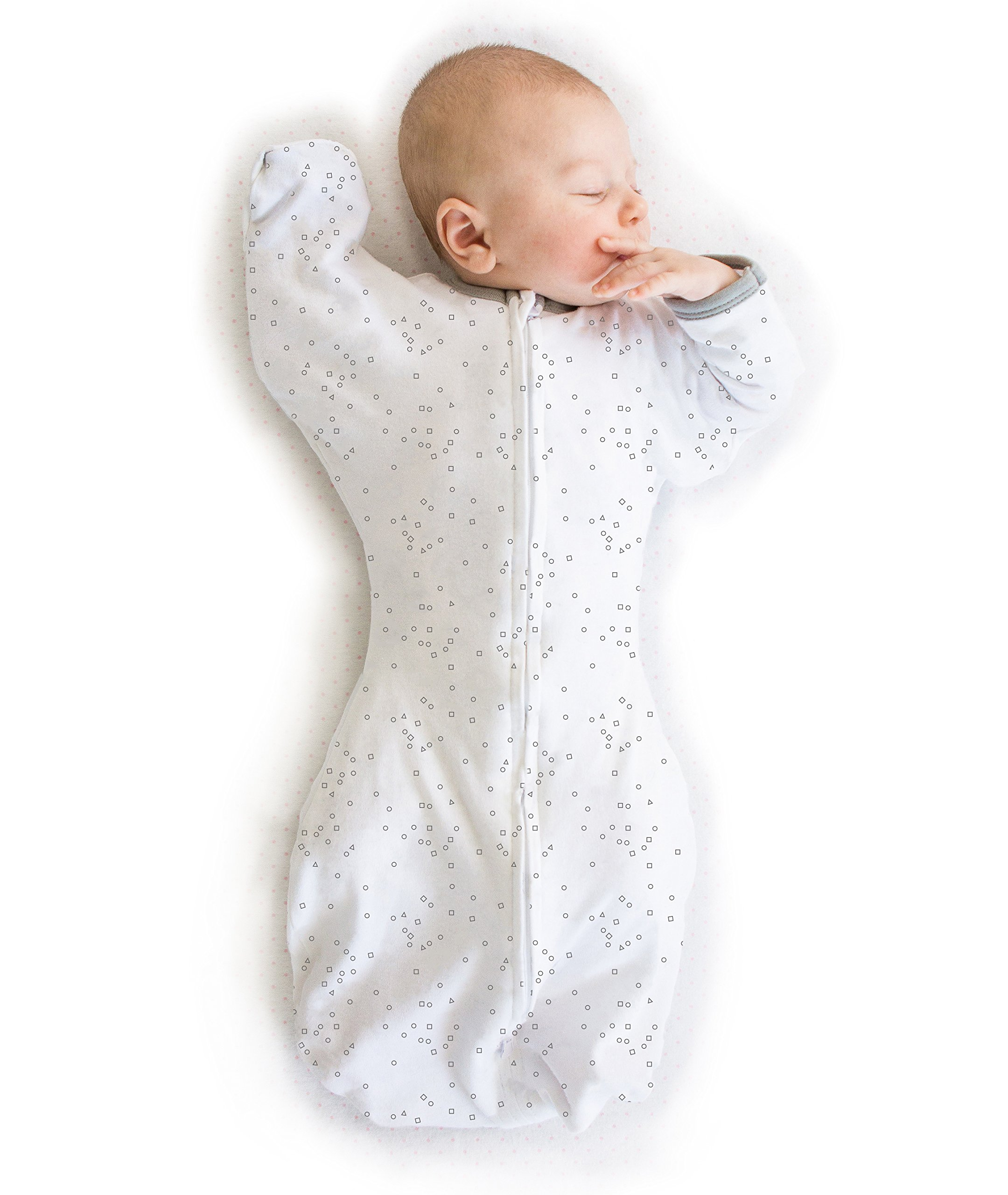 Amazing Baby Swaddle Sack with Arms Up Mitten Cuffs, Confetti, Sterling, Small, 0-3 Months