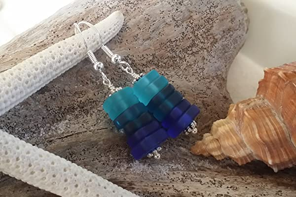 Handmade in Hawaii,three blue sea glass earrings, sterling silver hooks, Hawaiian Gift, FREE gift wrap, FREE gift message, FREE shipping