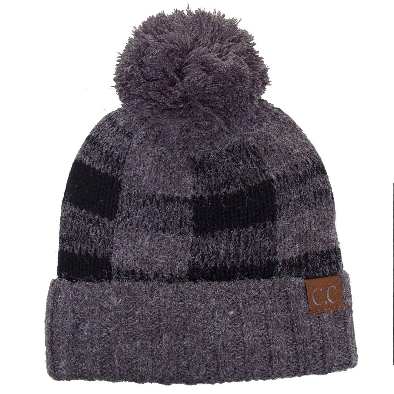 ScarvesMe CC Buffalo Check Pattern Knitted Beanie Hat with Pom Pom (Dark Gray/Black)