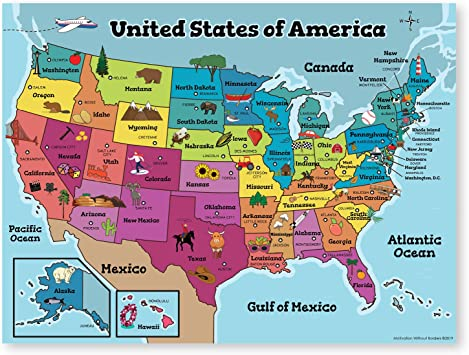 Amazon Com United States Map For Kids 18x24 Laminated Us Map
