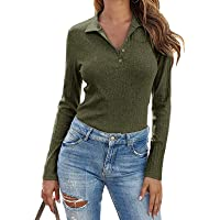 Womens Long Sleeve Polo Shirts Collared Button Down Ribbed Knit Tops Solid Tees