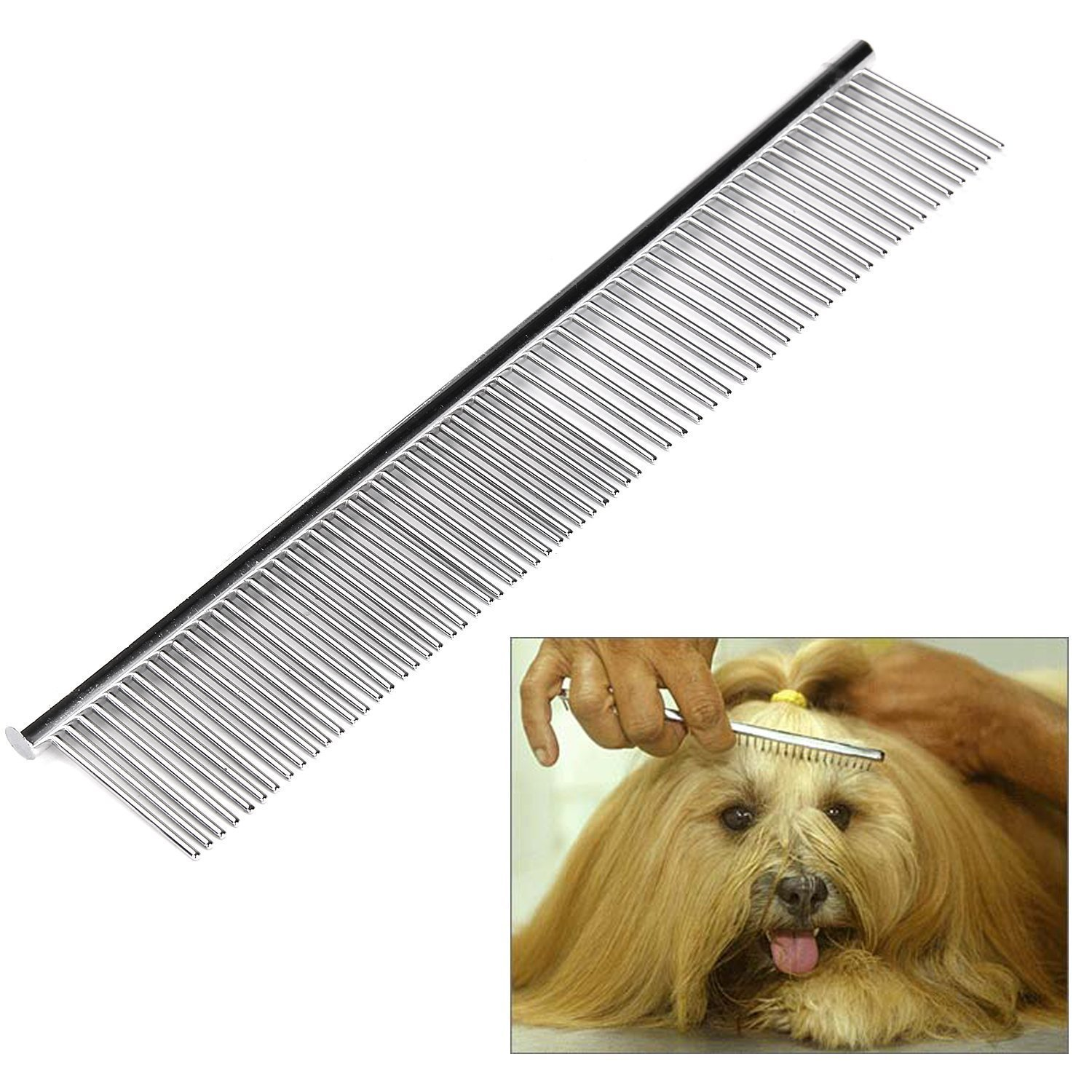 Stainless Steel Pet Comb Metal For Dogs Cats Pet Puppy Shedding Grooming Tool Massaging Flea Brush Rake with Red handle (2 Pack)