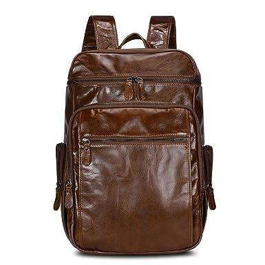 Amazon.com: Kattee Genuine Leather Business Backpack Travel School ...