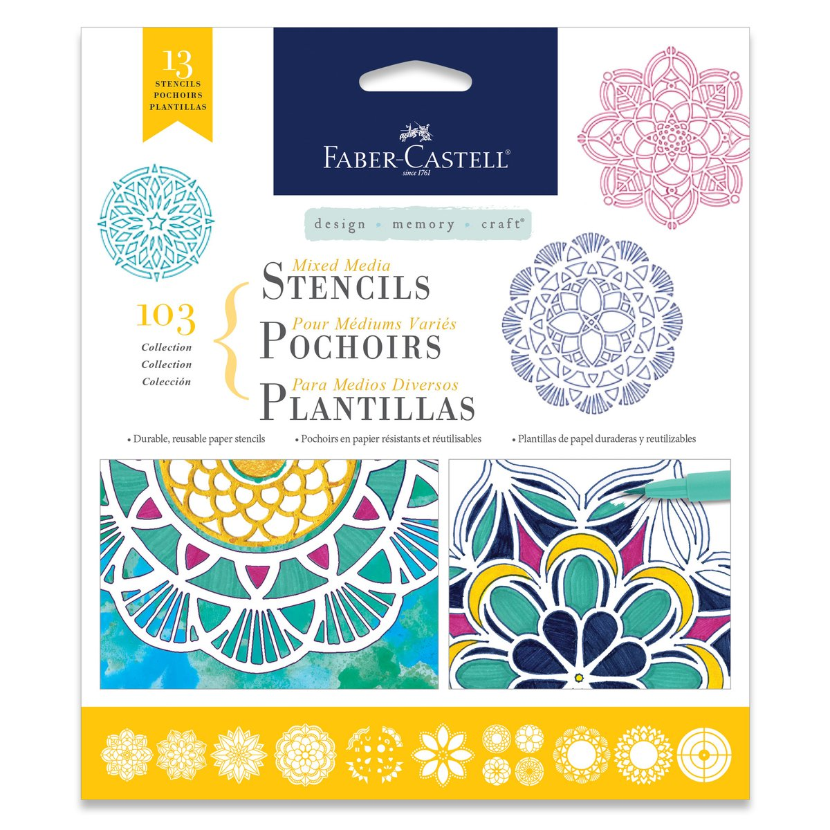 Amazon.com: Faber-Castell Mixed Media Paper Stencils - 103 Collection - 13  Reusable Mandala Stencils