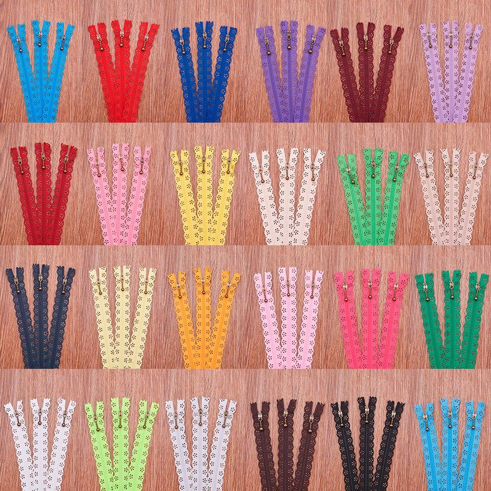 BENECREAT 72PCS 20cm Chiusure Lampo in Pizzo Fai da Te con Cerniera in Nylon Tailor Craft Bulk per Sartoria Artigianato da Cucire 24 Colori