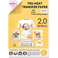"""TransOurDream Tru-Iron on Heat Transfer Paper for Light Fabric (10 Sheets, 8.5x11"""", 2nd Generation) Iron-on Transfers…"""