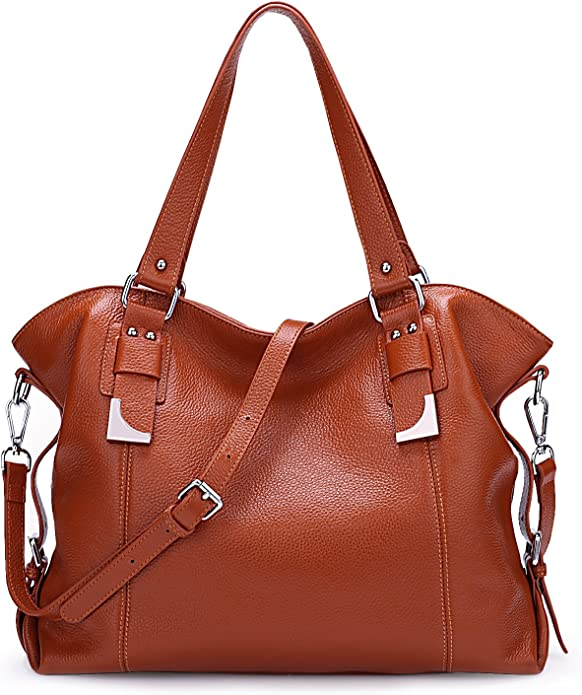BIG SALE-AINIMOER Womens Leather Shoulder Bag Vintage Handbags Large Tote Top handle Purse Cross Body Bags(Sorrel)