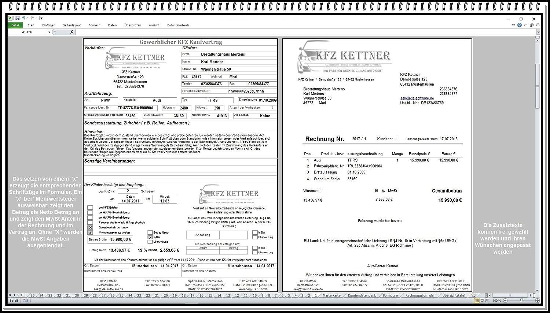 KFZ Software für Autohaus mit Kaufvertrag und Rechnung ...