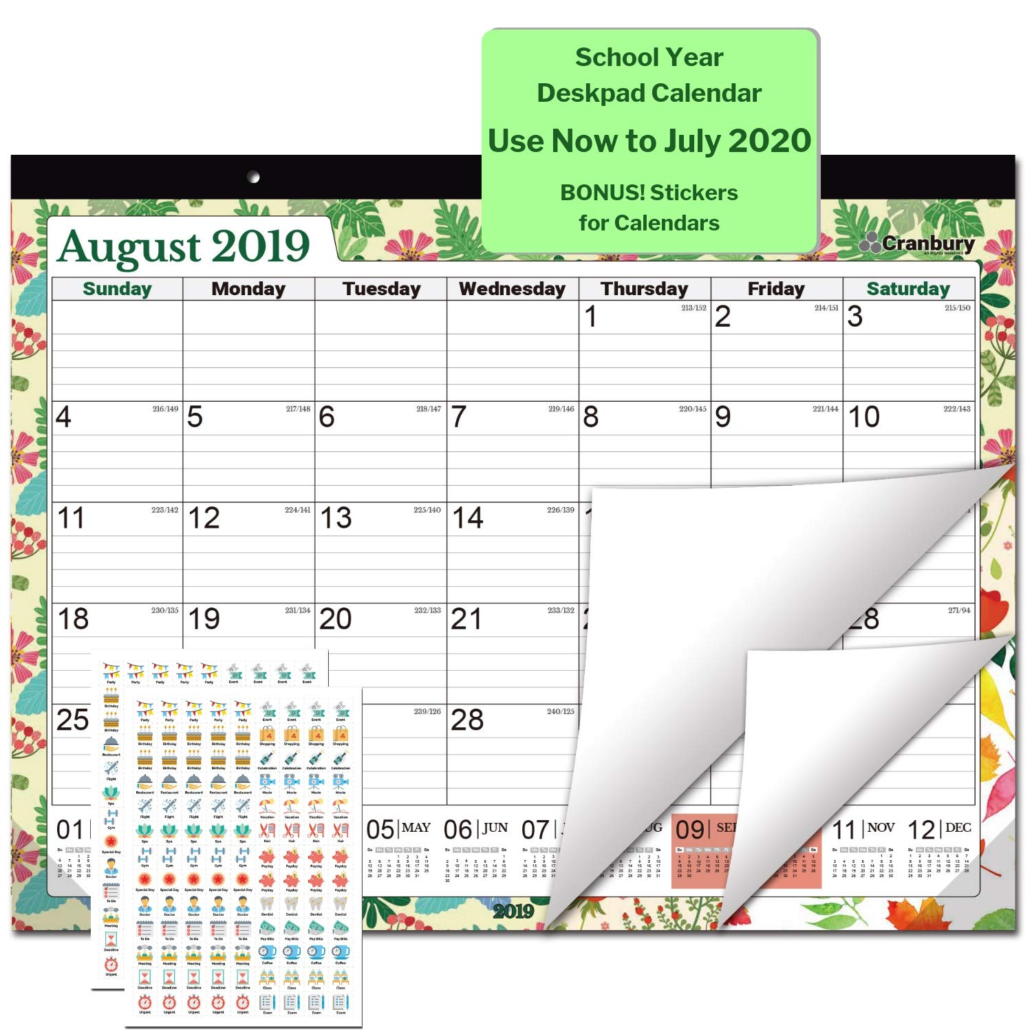 Large Desk Calendar 2019-2020, 17.75 x 13.75 (Seasons) Use Through July 2020, Desktop Academic Calendar 2019-2020, Deskpad Calendars for School, Home or Office, with Stickers for Calendars by CRANBURY