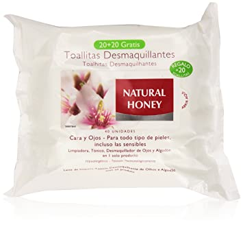 Natural Honey Natural Honey - Toallitas desmaquilladoras, 20 + 10 unidades, 200 gr: Amazon.es: Belleza