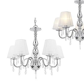 Perfekt [lux.pro] Kronleuchter Kristall Weiß E14 Modern Deckenleuchte 5 Flammig  Chrom