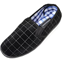 ABSOLUTE FOOTWEAR Mens Soft Velour Slippers/Indoor Shoes with Twin Gusset and Checked Design
