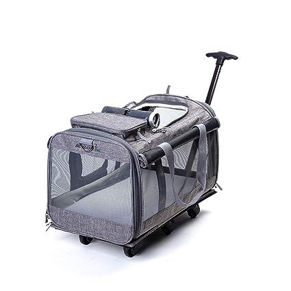 XDYFF Transportin Carrito Perro 2 en 1 Mochila Carrito Mochila rodante con Carro Integrado y manija