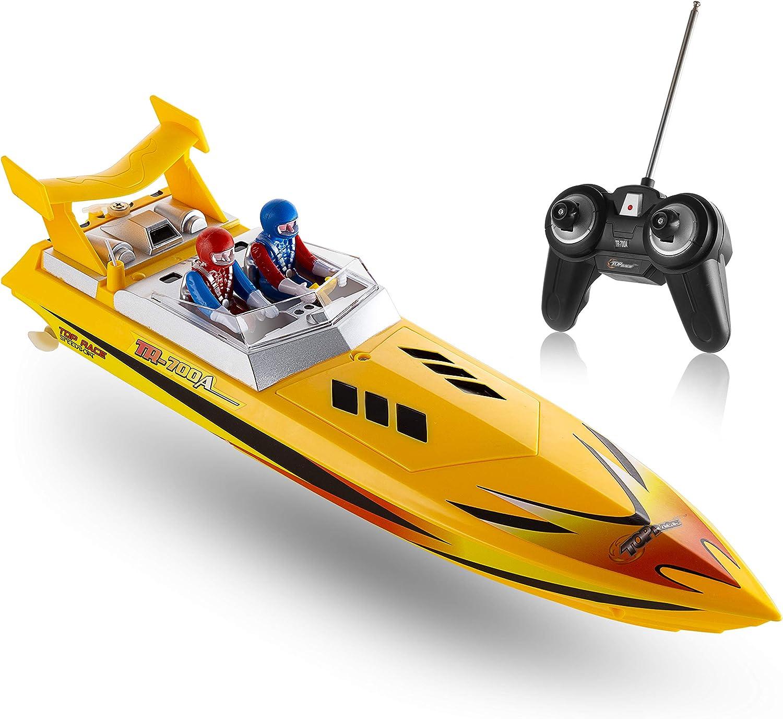 Top Race Bote de Velocidad de Agua con Control Remoto, RC Boat para niños, Juguete Piscinas y Lagos 8 mph (Amarillo)