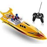 Top Race Remote Control Water Speed Boat, RC Boat for Kids, Perfect Toy for Pools and Lakes 8 Mph (Yellow)