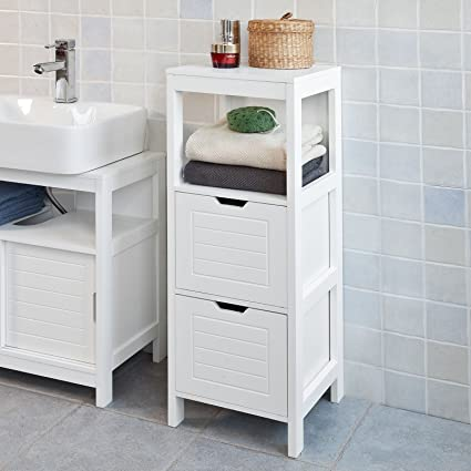 Haotian FRG127 W, White Floor Standing Bathroom Storage Cabinet Unit With 1  Shelf And