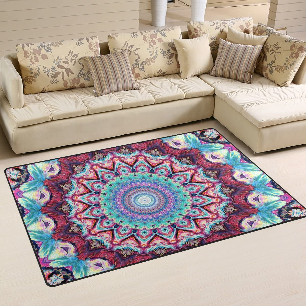 Sunlome Hippie Mandala Bohemian Psychedelic Area Rug Rugs Non-Slip Indoor Outdoor Floor Mat Doormats for Home Decor 60 x 39 inches