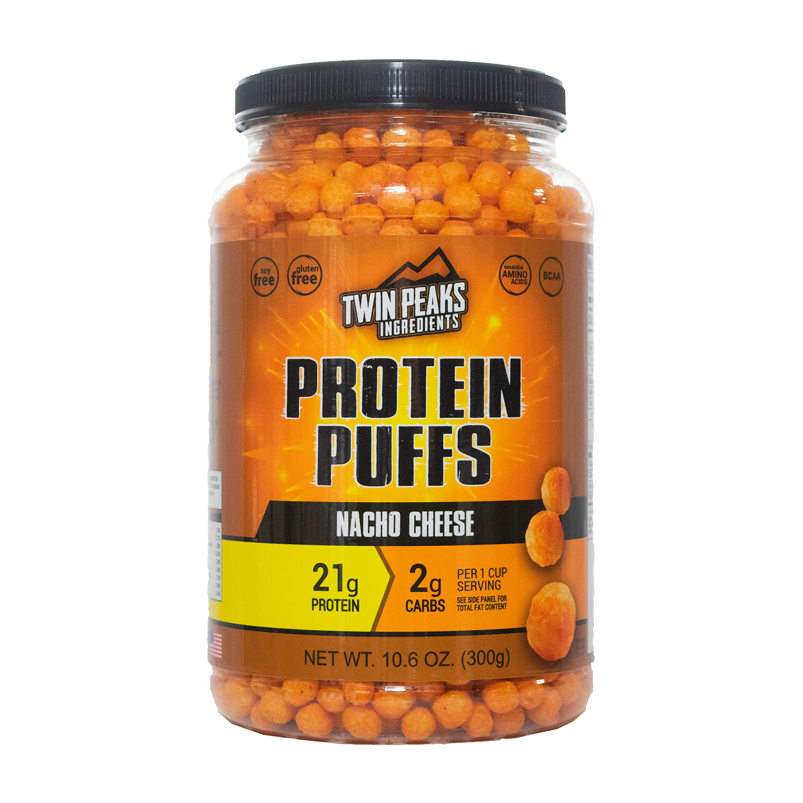 Twin Peaks Low Carb, Keto Friendly Protein Puffs, Nacho Cheese (300g, 21g Protein, 2g Carbs) by TWIN PEAKS INGREDIENTS
