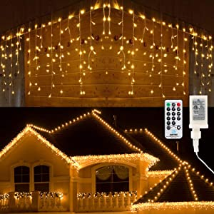 Brizled Icicle Lights, 29ft 360 LED Christmas Icicle Lights, 8 Modes Icicle String Lights with 60 Drops, Connectable Icicle Lights with Remote for Indoor Outdoor Christmas Wedding Holiday, Warm White