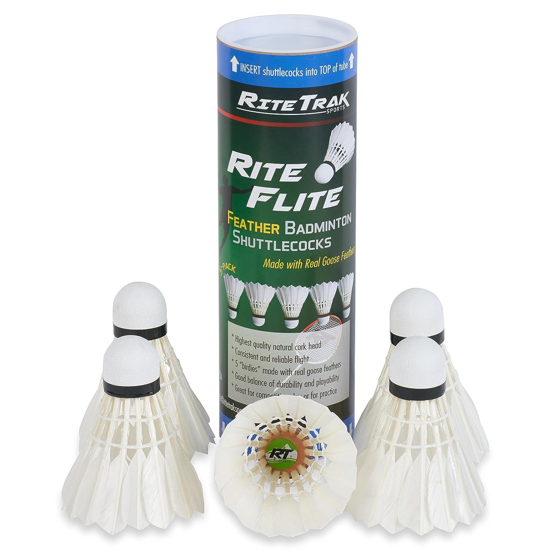 RiteTrak Sports RiteFlite Feather Badminton Shuttlecocks 5-Pack