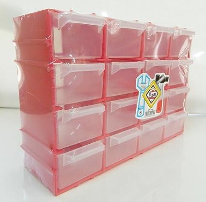 Petit Casier De Rangement Rouge Plastique Boite 21 5x15cm 16 Tiroirs Ranger Vis Amazon Fr Bricolage