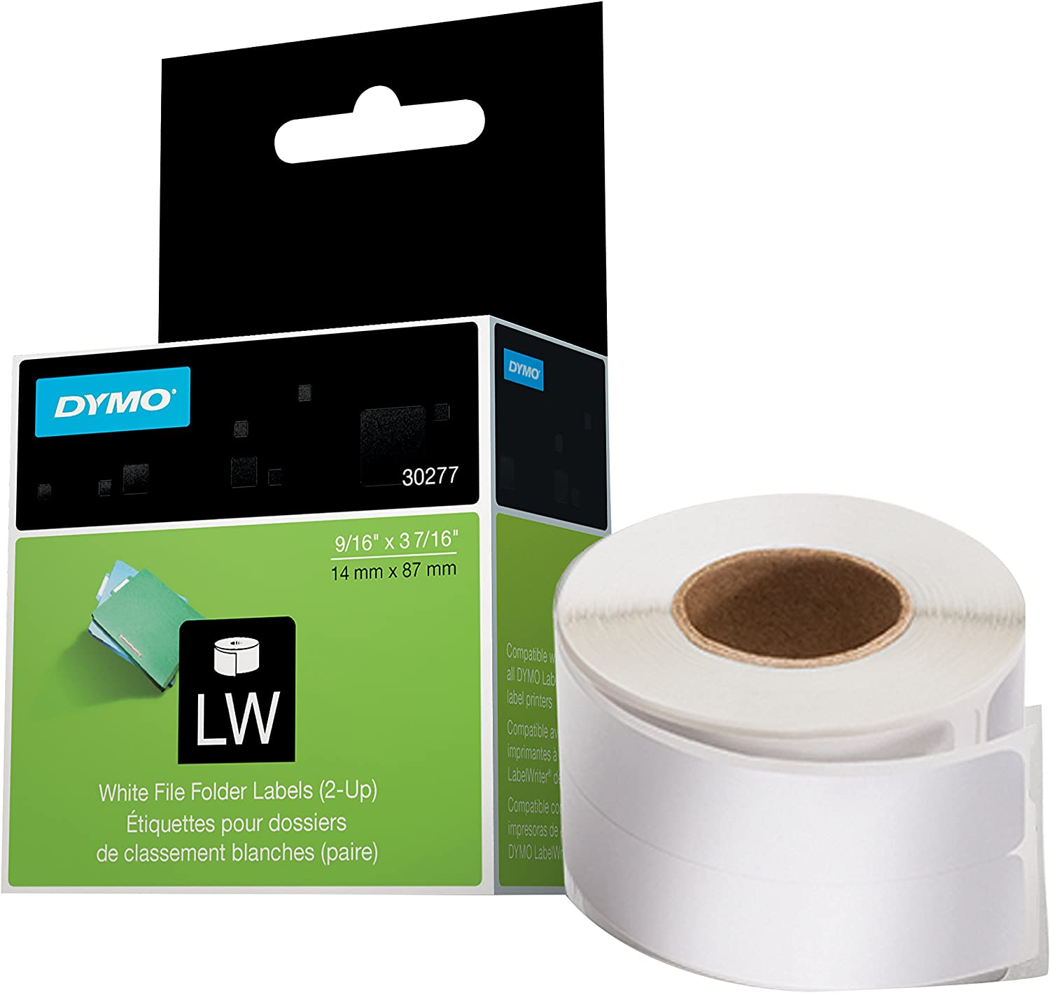 DYMO LW 2-Up File Folder Labels for LabelWriter Label Printers, White, 9/16'' x 3-7/16'', 1 roll of 260 (30377) : Labeling Tape : Office Products