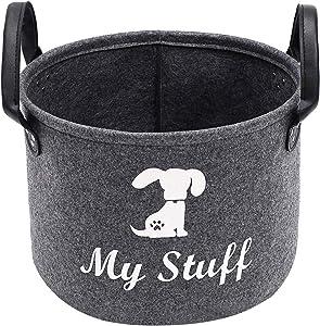 Morezi Round Felt Dog Toy Basket, Dog Toy Box, Basket Chest Organizer with Handles - Perfect for organizing pet Toys, Blankets, leashes and Food - Grey