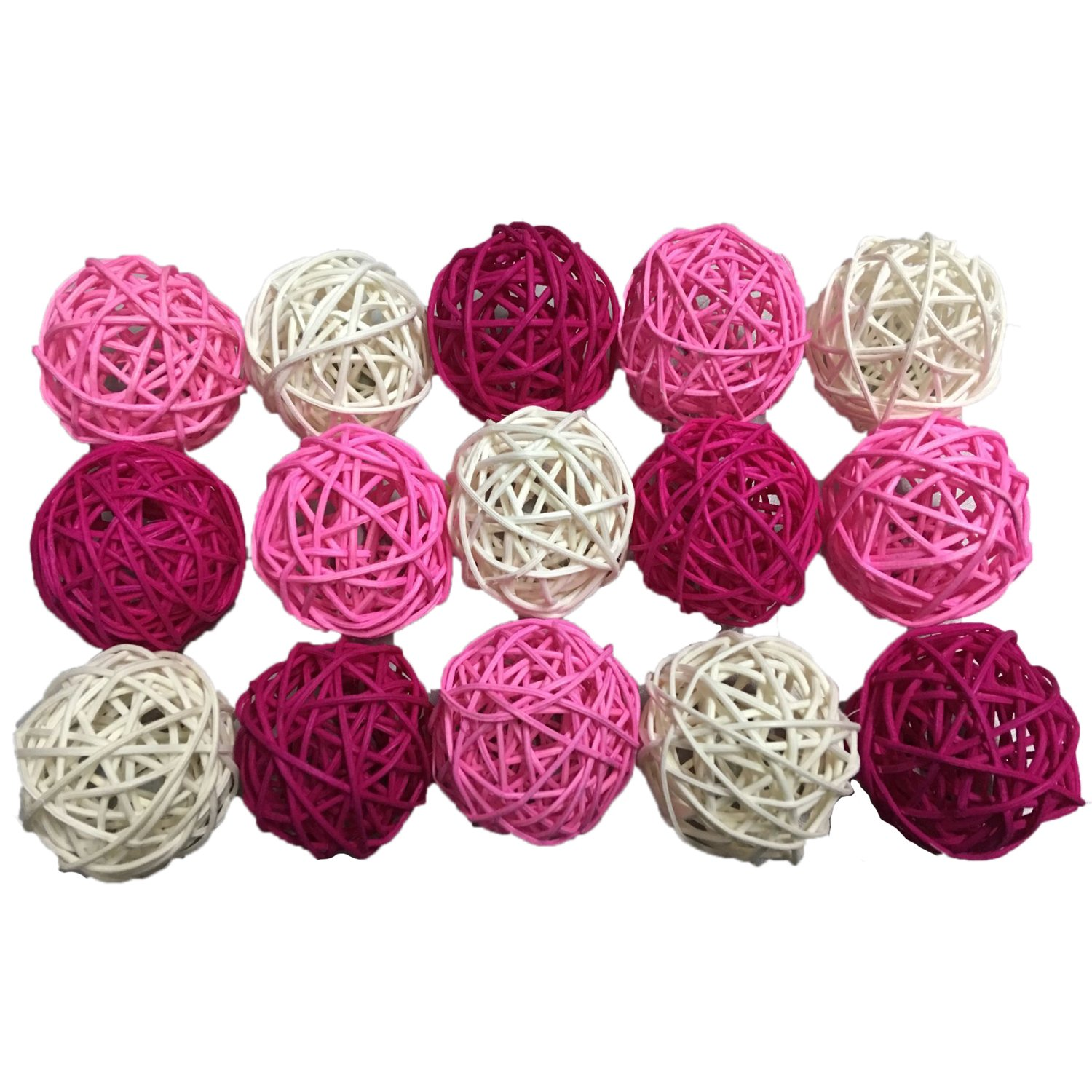 15PCS Mixed Pink Hot Pink White Decorative Wicker Rattan Ball Wedding Girl Birthday Baby Shower Nursery Christmas Party Decoration DreammadeStudio