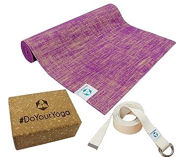 DoYourYoga Set de Yoga: Esterilla de Yoga de Yute/PVC 183 x ...