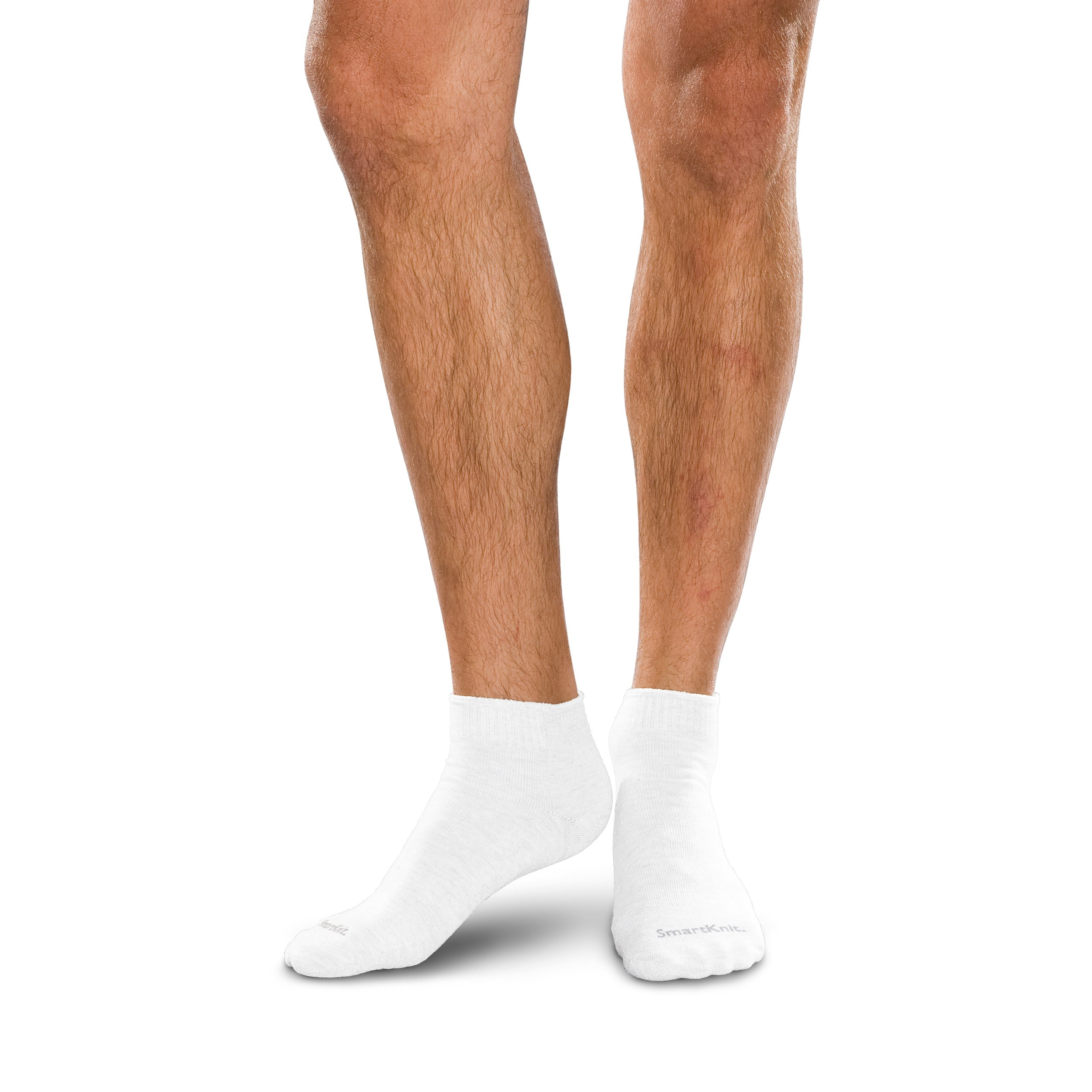 SmartKnit Seamless Mini-Crew Socks for Diabetes, Arthritis or Sensitive Feet (White, Medium)